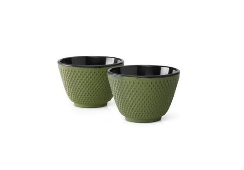 Fine Asianliving Cast Iron Teacups Set / 2 Green