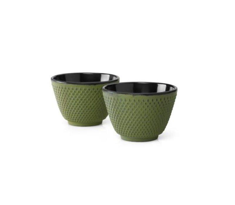 Cast Iron Teacups Set / 2 Green