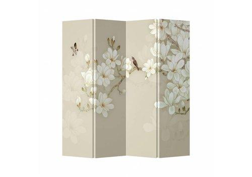 Fine Asianliving Biombo Separador de Lienzo 4 Paneles Flores Beige Anch.160 x Alt.180 cm