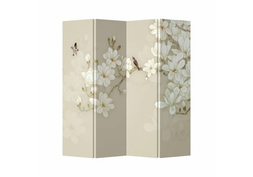 Fine Asianliving Room Divider Privacy Screen 4 Panel Beige Blossom W160xH180cm