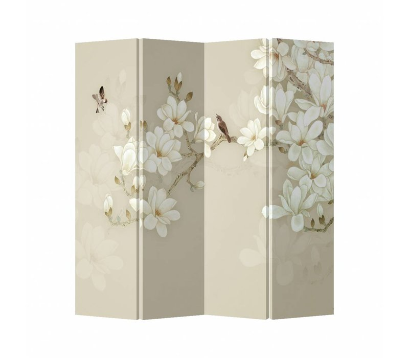 Room Divider Privacy Screen 4 Panels W160xH180cm Beige Blossom