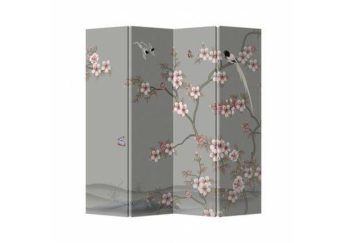 Fine Asianliving Chinees Kamerscherm Oosters Scheidingswand B160xH180cm 4 Panelen Licht Roze Sakura