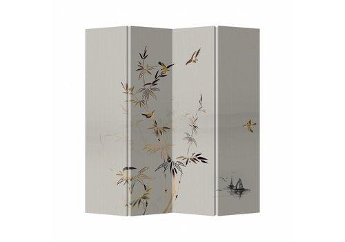 Fine Asianliving Biombo Separador de Lienzo 4 Paneles Blanco Bambú Anch.160 x Alt.180 cm
