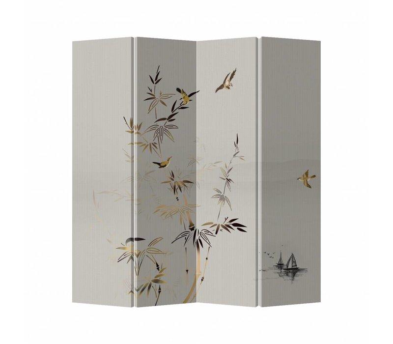 Kamerscherm Scheidingswand B160xH180cm 4 Panelen Met Bamboe