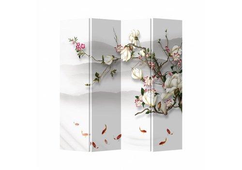 Fine Asianliving Biombo Separador de Lienzo Chino 4 Paneles Flores y Pescado Anch.160 x Alt.180 cm