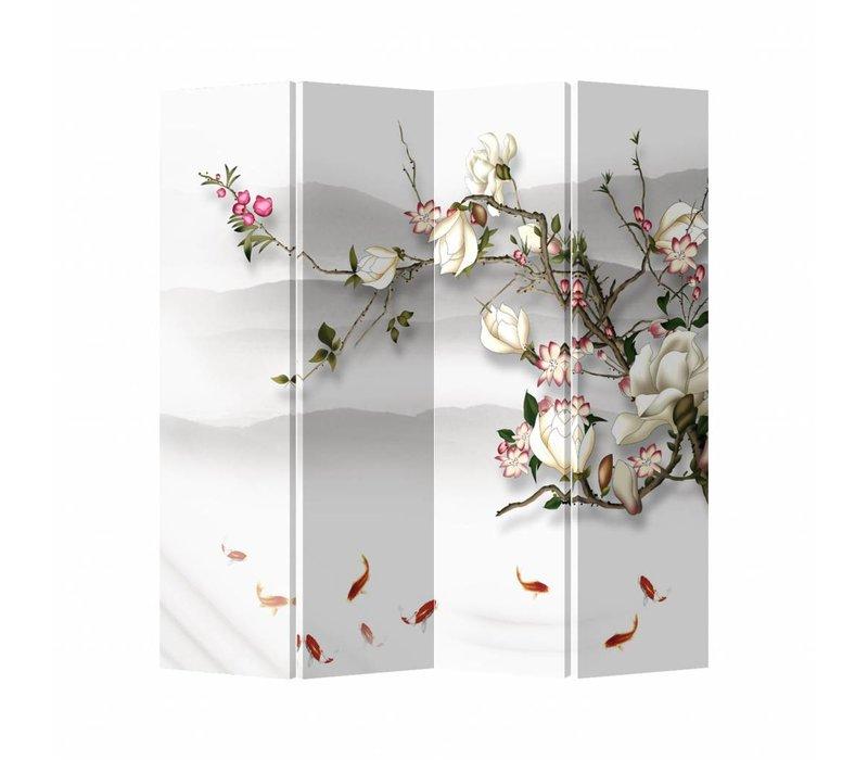 Kamerscherm Scheidingswand B160xH180cm 4 Panelen Bloesem En Vissen