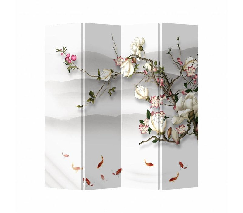 Oriental Room Divider 4 Panel Blossom And Fish