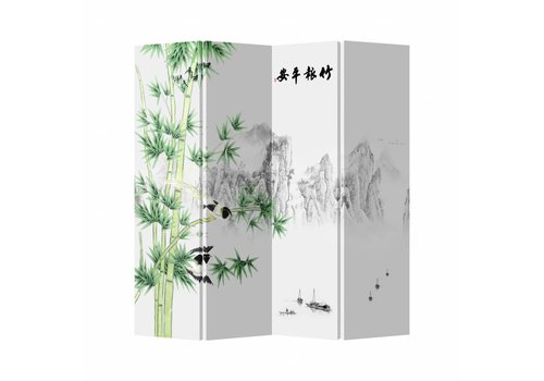 Fine Asianliving Fine Asianliving Kamerscherm Scheidingswand 4 Panelen Bamboe Canvas Dubbelzijdig 160x180cm