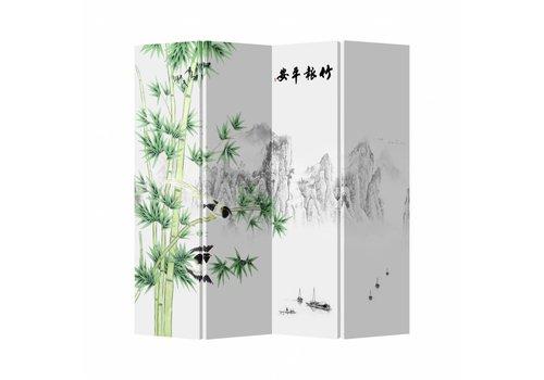 Fine Asianliving Raumteiler Trennwand B160xH180cm 4-teilig Berg- und Bambuslandschaft Weiß
