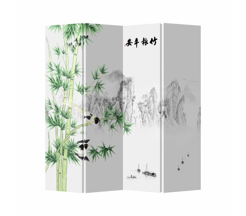 Oriental Room Divider 4 Panel Landscape White Bamboo