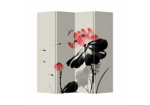 Fine Asianliving Fine Asianliving Kamerscherm Scheidingswand 4 Panelen Lotus Canvas Dubbelzijdig 160x180cm