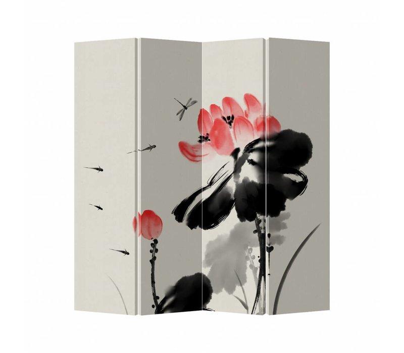 Oriental Room Divider 4 Panel Black Flower
