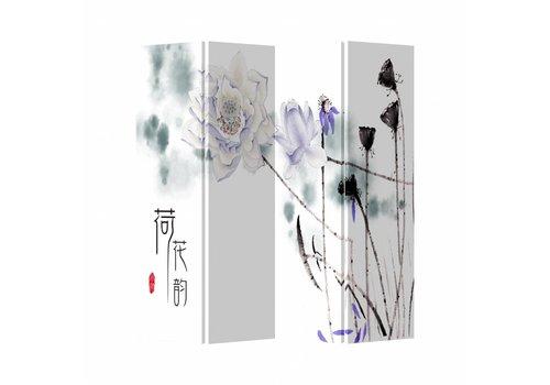 Fine Asianliving Fine Asianliving Kamerscherm Scheidingswand 4 Panelen Met Lila Bloemen