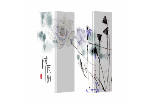 Fine Asianliving Kamerscherm Scheidingswand 4 Panelen Met Lila Bloemen