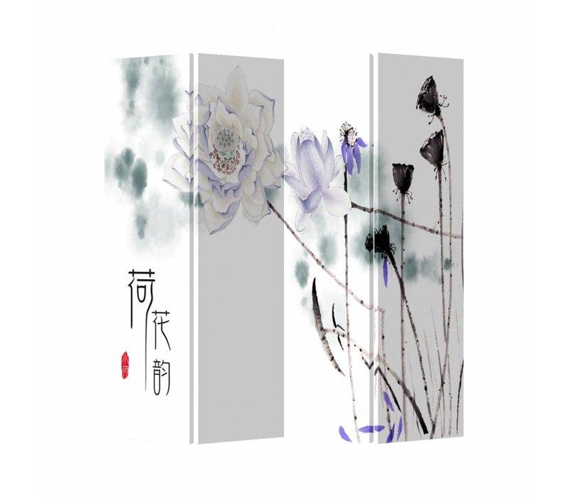 Chinees Kamerscherm Oosters Scheidingswand B160xH180cm 4 Panelen Lila Lotus