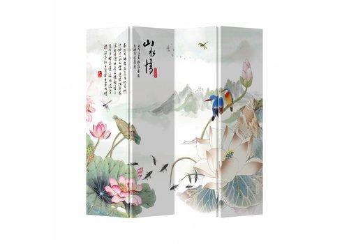 Fine Asianliving Fine Asianliving Kamerscherm Scheidingswand 4 Panelen Lotus Vogels Canvas Dubbelzijdig 160x180cm