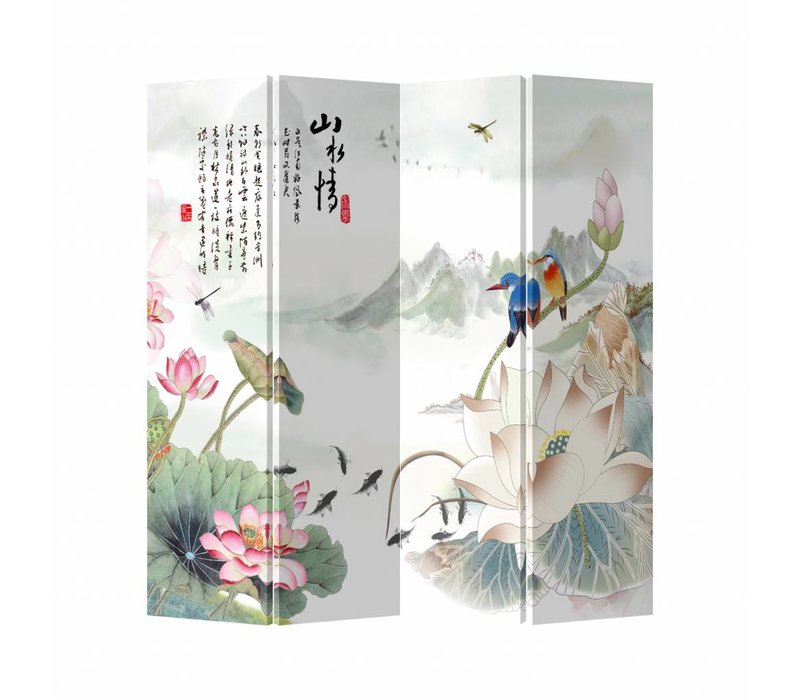Fine Asianliving Chinese Oriental Room Divider Folding Privacy Screen 4 Panel Pond White Animals L160xH180cm