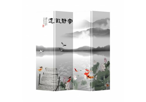 Fine Asianliving Fine Asianliving Oriental Room Divider 4 Panel Lake White Animals L160xH180cm