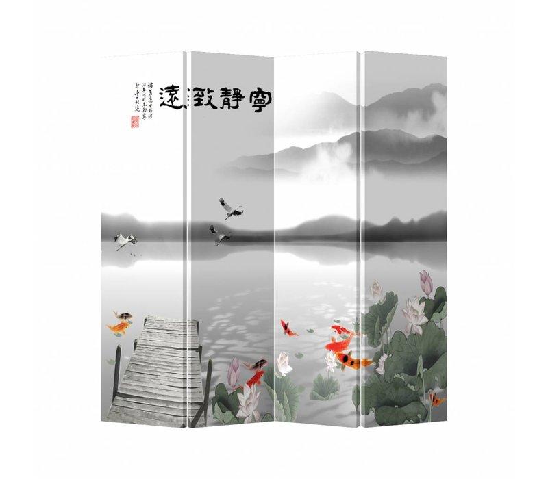 Fine Asianliving Oriental Room Divider 4 Panel Lake White Animals