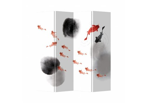 Fine Asianliving Fine Asianliving Kamerscherm Scheidingswand 4 Panelen Koi Fish Canvas Dubbelzijdig 160x180cm