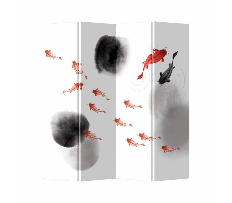 Fine Asianliving Raumteiler Paravent Sichtschutz Trennwand Raumtrenner Leinwand Spanische Wand (160x180cm)