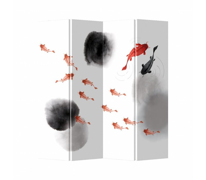 Oriental Room Divider 4 Panel Koi Fish