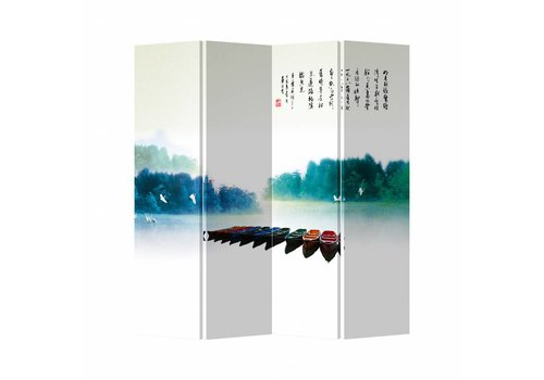 Fine Asianliving Fine Asianliving Oriental Room Divider 4 Panel Rainbow Boats  (160x180cm)