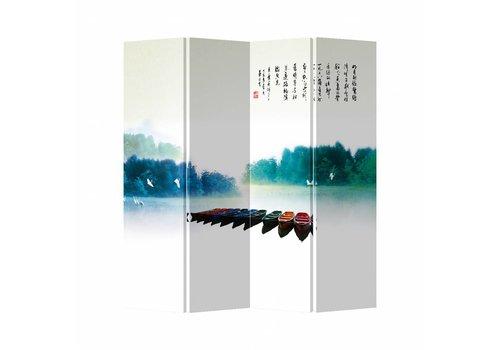 Fine Asianliving Kamerscherm Scheidingswand 4 Panelen Bootjes Canvas Dubbelzijdig 160x180cm