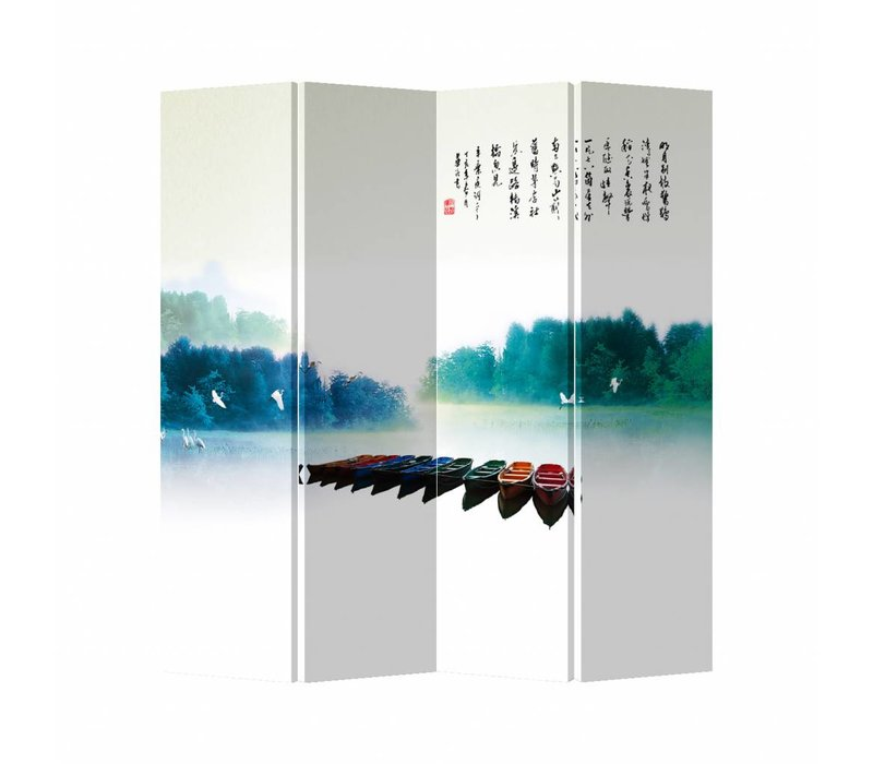 Fine Asianliving Oriental Room Divider 4 Panel Rainbow Boats (160x180cm)