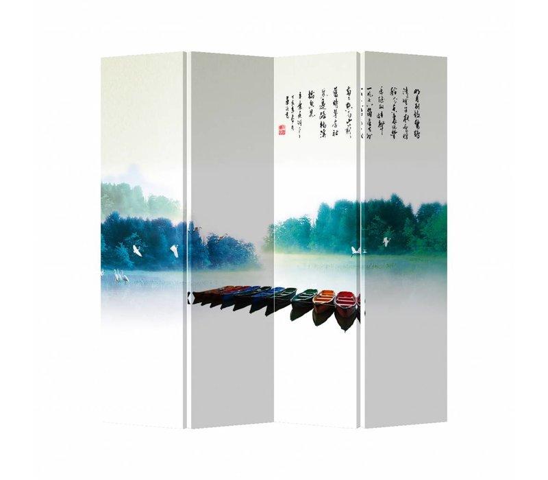 Oriental Room Divider 4 Panel Rainbow Boats