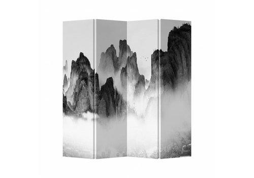 Fine Asianliving Fine Asianliving Kamerscherm Scheidingswand 4 Panelen Mountains Canvas Dubbelzijdig 160x180cm
