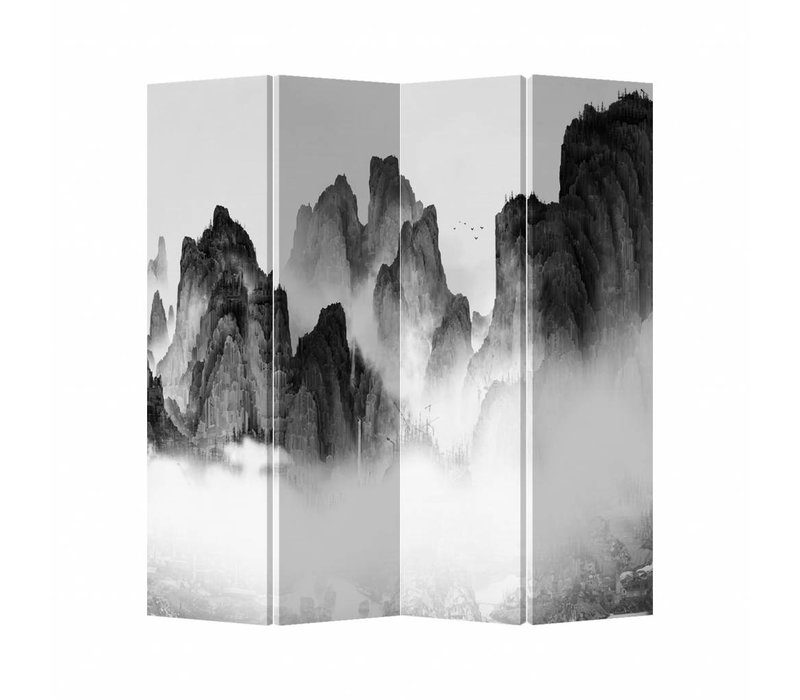 Oriental Room Divider 4 Panel Mountains