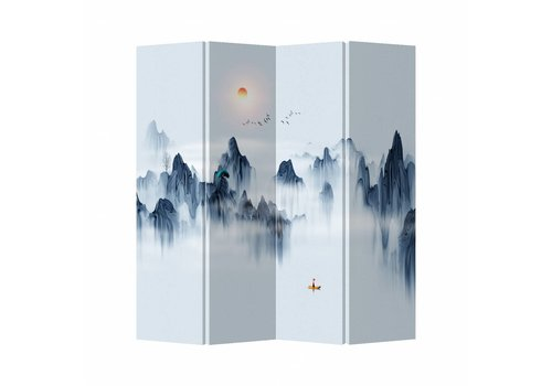 Fine Asianliving Fine Asianliving Oriental Room Divider 4 Panel Colored Mountain landscape (160x180cm)