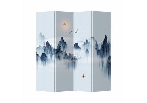 Fine Asianliving Kamerscherm Scheidingswand 4 Panelen Bergen Canvas Dubbelzijdig 160x180cm