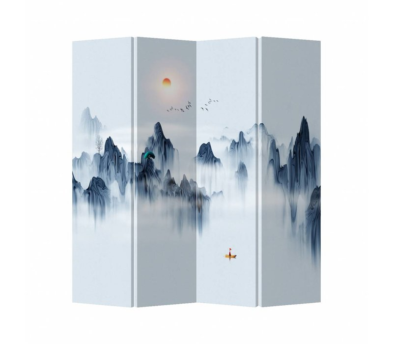 Oriental Room Divider 4 Panel Colored Mountain landscape