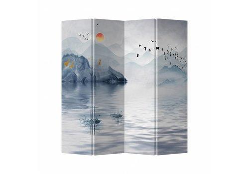 Fine Asianliving Fine Asianliving Kamerscherm Scheidingswand 4 Panelen Meer Canvas Dubbelzijdig 160x180cm