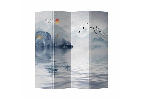 Fine Asianliving Fine Asianliving Room Divider Privacy Screen Canvas 4 Panel Lake And Landscape