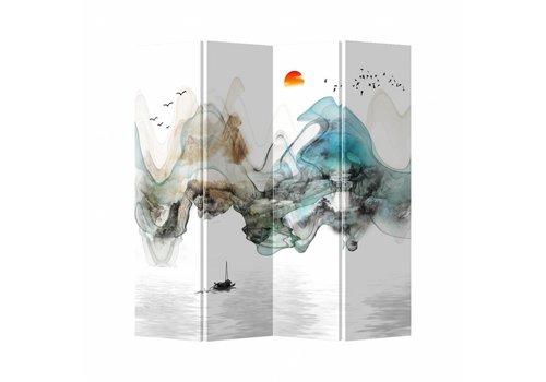 Fine Asianliving Kamerscherm Scheidingswand 4 Panelen Landschap Canvas Dubbelzijdig 160x180cm
