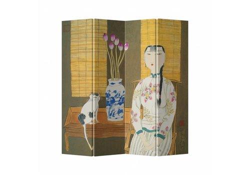 Fine Asianliving Fine Asianliving Kamerscherm Scheidingswand 4 Panelen Cat Lady Canvas Dubbelzijdig 160x180cm