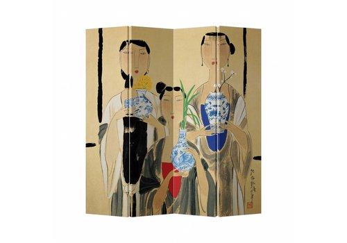 Fine Asianliving Kamerscherm Scheidingswand 4 Panelen Vrouwen Canvas Dubbelzijdig 160x180cm