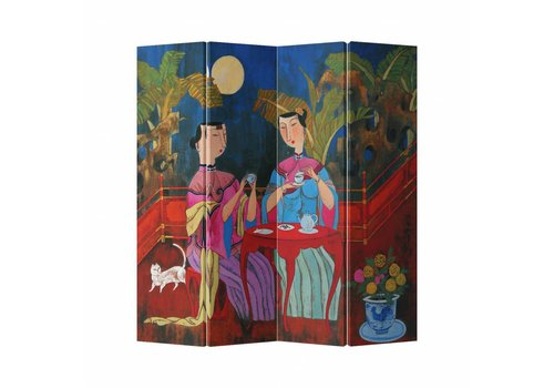 Fine Asianliving Chinese Oriental Room Divider Folding Privacy Screen 4 Panel Tea Break and Cat L160xH180cm