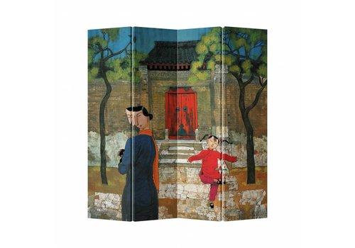 Fine Asianliving Kamerscherm Scheidingswand 4 Panelen Kind Canvas Dubbelzijdig 160x180cm