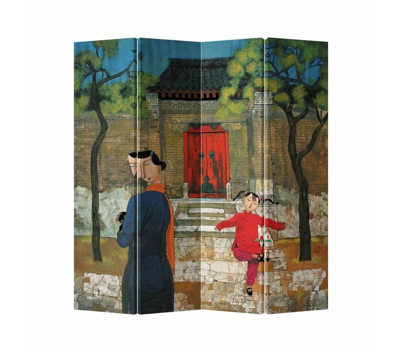 Fine Asianliving Chinese Oriental Room Divider Folding Privacy Screen 4 Panel Playing outside L160xH180cm