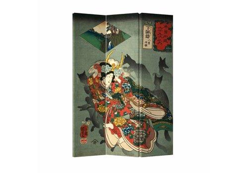 Fine Asianliving Fine Asianliving Japans Kamerscherm Oosters Scheidingswand 3 panelen Japanse God Okami L120xH180cm