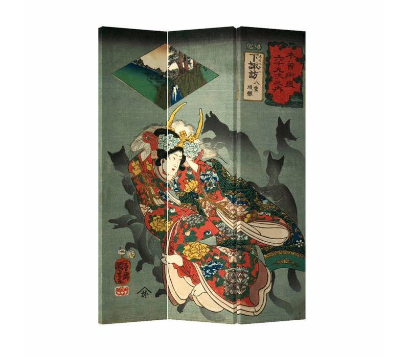 Fine Asianliving Room Divider Privacy Screen 3P Japanese Okami (120x180cm)