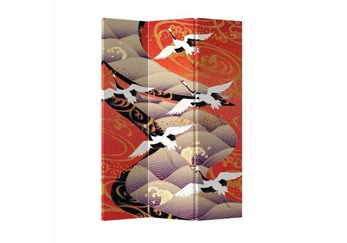 Fine Asianliving Fine Asianliving Japans Kamerscherm Oosters Scheidingswand Kraanvogels 3 panelen L120xH180cm