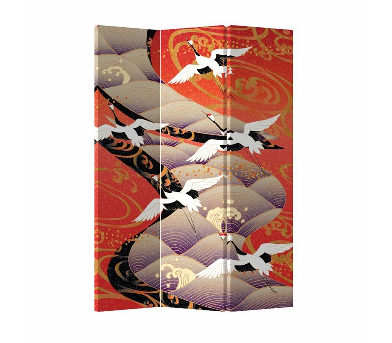 Fine Asianliving Japanese Oriental Room Divider Folding Privacy Screen 3 Panel Japanese Cranes L120xH180cm