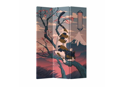 Fine Asianliving Room Divider Privacy Screen 3P Japanese Fuji Cat (120x180cm)