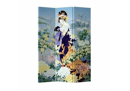 Fine Asianliving Fine Asianliving Kamerscherm Scheidingswand 3P Japans Geisha Bloemenparadijs