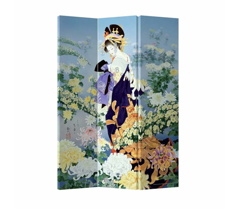 Fine Asianliving Room Divider Privacy Screen 3 Panel Geisha Flower Paradise